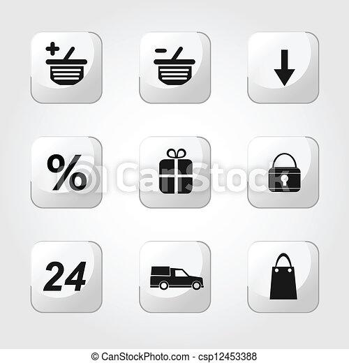 アイコン, set., ベクトル, 買い物, design. - csp12453388