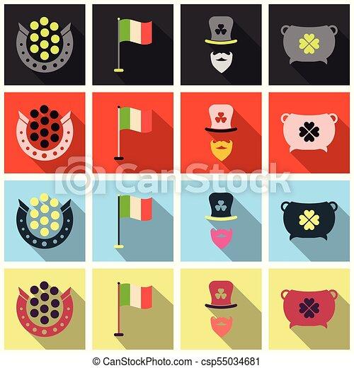アイルランド, セット, アイコン, パトリック, st. 。, flet, 日, シンボル, shadow. - csp55034681