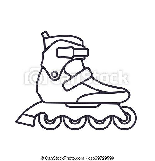 アウトライン, スケート, 隔離された, イラスト, バックグラウンド。, ベクトル, フィットネス, インラインである, 白, ローラー, アイコン - csp69729599