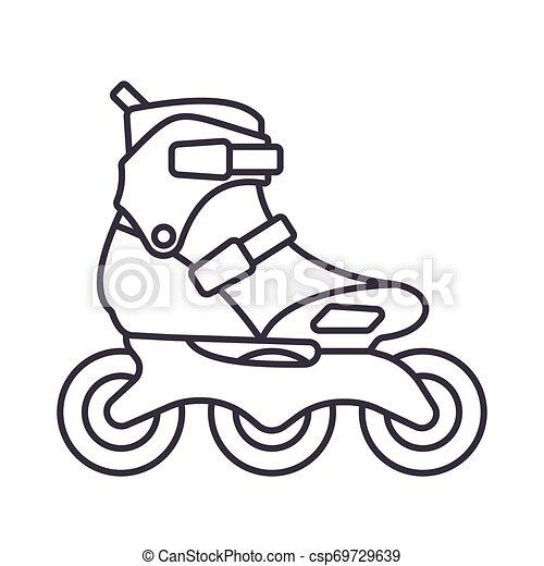 アウトライン, 隔離された, イラスト, バックグラウンド。, ベクトル, スケート, インラインである, 白, ローラー, アイコン - csp69729639