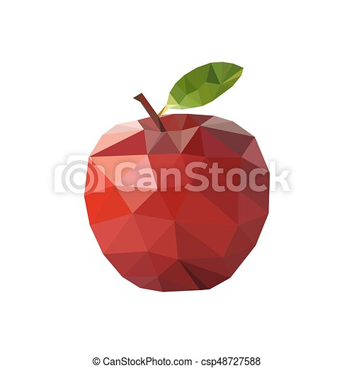 アップル, イラスト, polygonal, ベクトル, style., 赤 - csp48727588