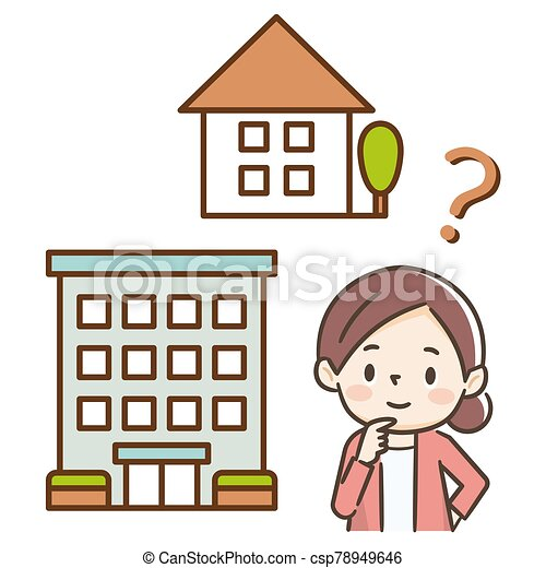 アパート, 見る, 女性, 建物。, 若い - csp78949646
