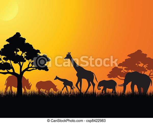 アフリカ, シルエット, 動物 - csp8422983