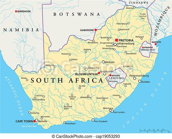 アフリカ, 政治的である, 南, 地図 - csp19053293