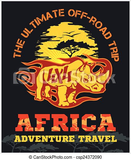 アフリカ, 旅行, -, emblem., ベクトル, オフロード, 極点 - csp24372090