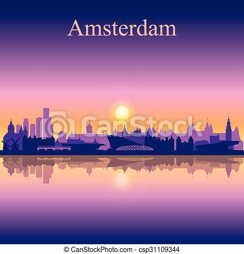 アムステルダム, スカイラインのシルエット, 背景, 都市 - csp31109344