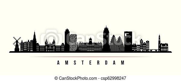 アムステルダム, スカイライン, 都市, 横, banner. - csp62998247
