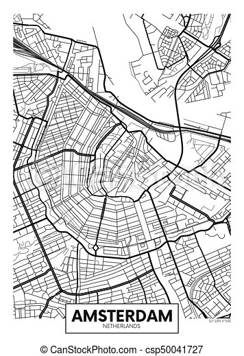 アムステルダム, ベクトル, 都市 地図, ポスター - csp50041727