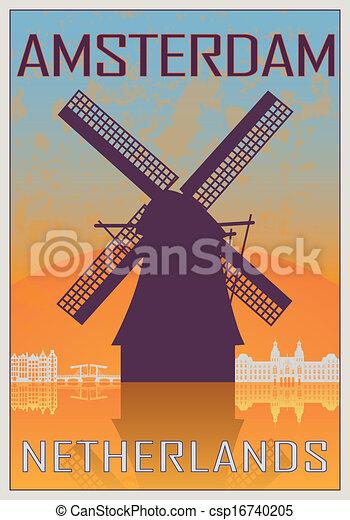 アムステルダム, 型, ポスター - csp16740205