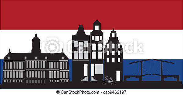 アムステルダム, 旗, スカイライン, オランダ語 - csp9462197