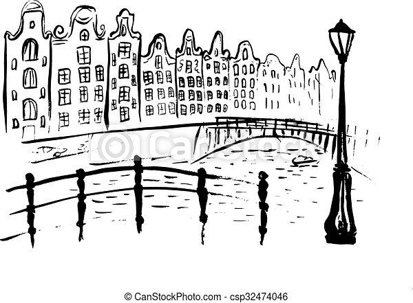 アムステルダム, 運河, 家 - csp32474046