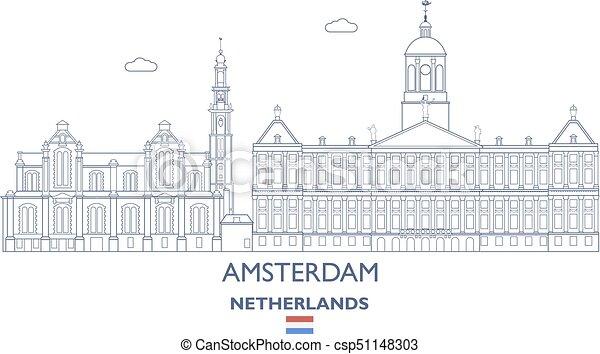 アムステルダム, netherlands, スカイライン, 都市 - csp51148303