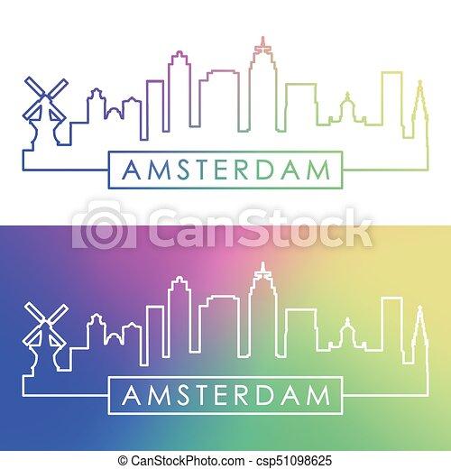 アムステルダム, skyline. - csp51098625
