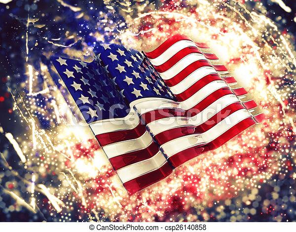 アメリカの旗, 背景, sparkly - csp26140858