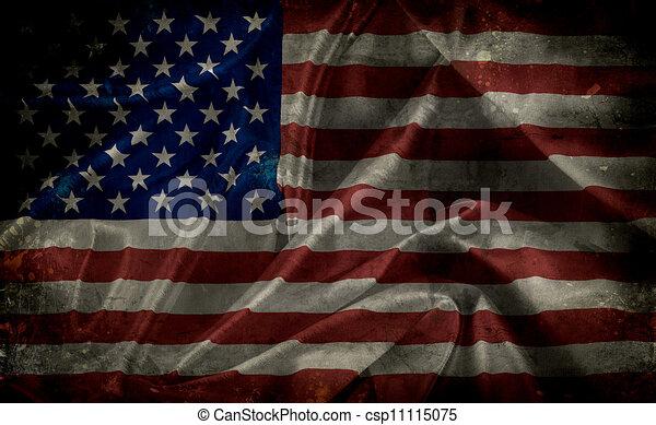 アメリカ人, グランジ, 旗 - csp11115075