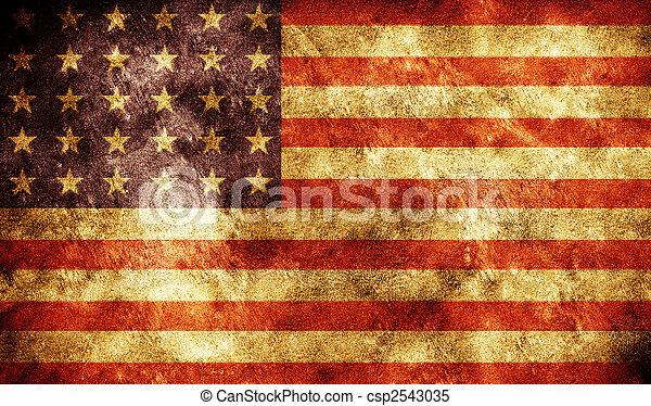 アメリカ人, グランジ, 旗, 背景 - csp2543035