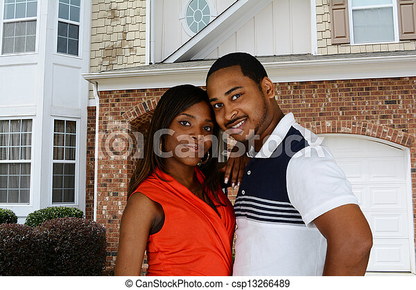 アメリカ人, 家族, アフリカ - csp13266489