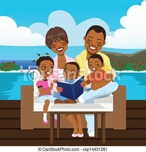 アメリカ人, 幸せな家族, アフリカ - csp14431281
