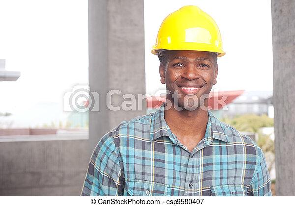 アメリカ人, 建築作業員, アフリカ - csp9580407