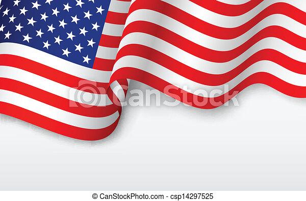 アメリカ人, 波状, 旗 - csp14297525