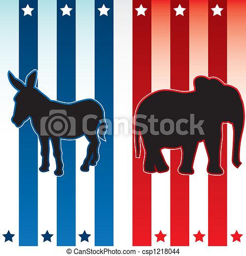 アメリカ人, 選挙, イラスト - csp1218044