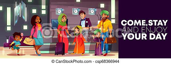 アラビア人, ホテルの受信, 家族, 漫画 - csp68366944