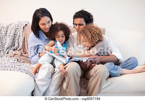 アルバム, 見る, ソファー, 写真, 一緒に, 家族 - csp8057194