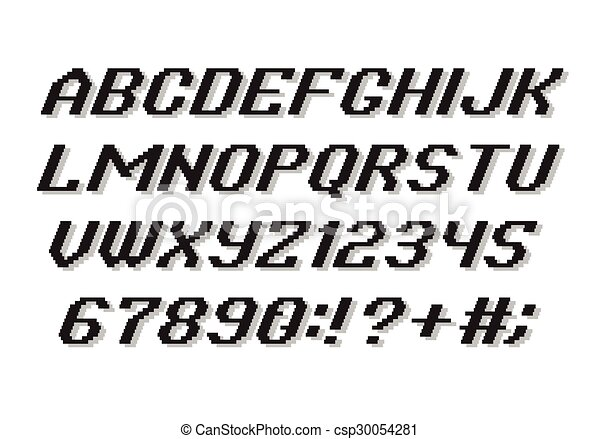アルファベット, スタイル, ピクセル - csp30054281