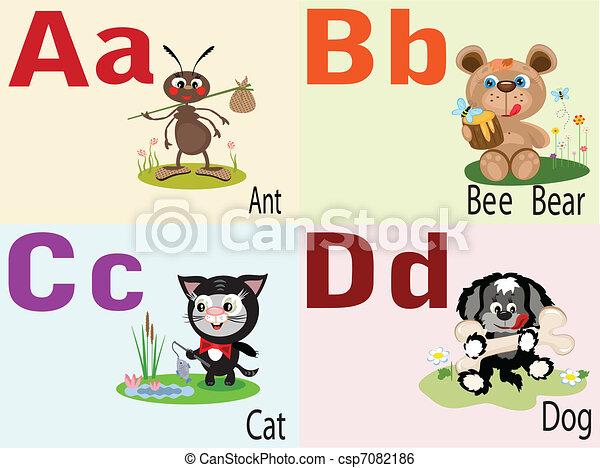 アルファベット, 動物, a - csp7082186