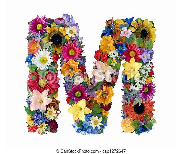 アルファベット, 花, -, m - csp1272647