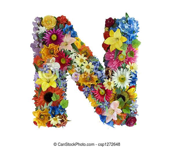 アルファベット, 花, -, n - csp1272648