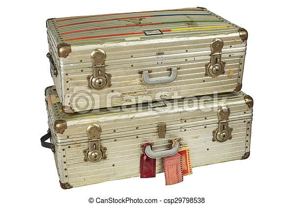 アルミニウム, 飛行, スーツケース, 型, 隔離された, 白 - csp29798538