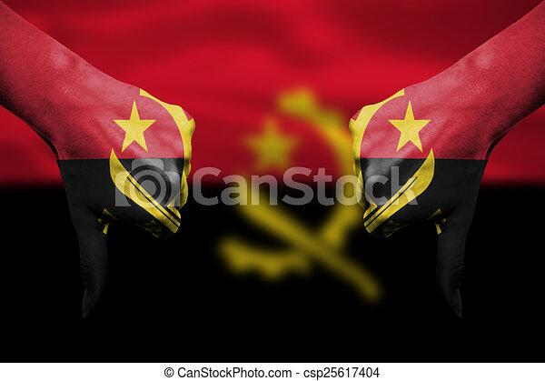 アンゴラ, -, 下方に, 失敗, 旗,...