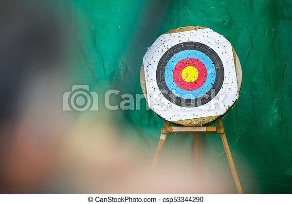 アーチェリー, リング, 射手, ターゲット, 弓 - csp53344290