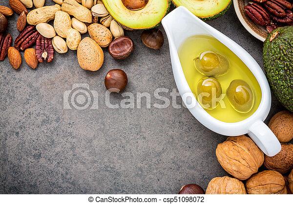 アーモンド, e, 食品。, バックグラウンド。, 選択, 3, ヘイゼルナッツ, 源, 繊維, オリーブ, ビタミン, 鮭, fats., クルミ, superfood, 健康, 食事である, オイル, 食物, 石, オメガ, fish, 高く, 不飽和, オイル - csp51098072