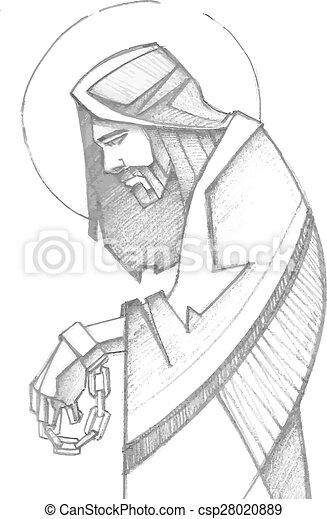 イエス・キリスト, 彼の, 情熱, 鎖でつながれた - csp28020889