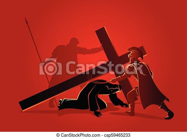 イエス・キリスト, 時間, 第3, 落ちる - csp59465233