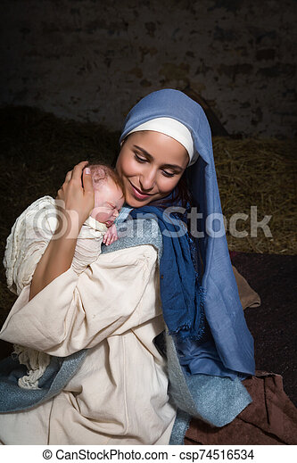 イエス・キリスト, mary, 幸せ, 赤ん坊, 母 - csp74516534