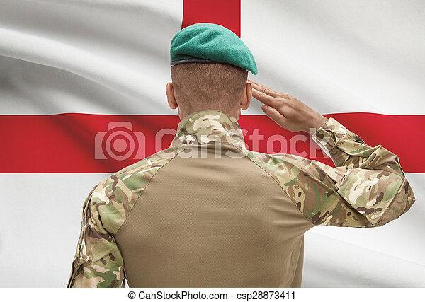 イギリス\, 肌が黒, -, 兵士, 旗, 背景 - csp28873411