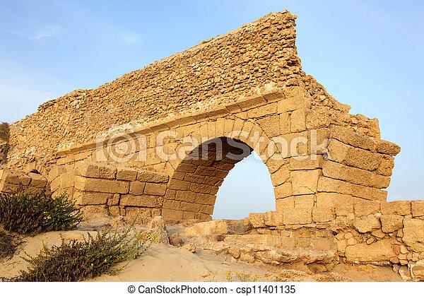 イスラエル, 古代, 古い, 水路, 地中海, ceasarea, ローマ人, 日没, 海, 海岸 - csp11401135