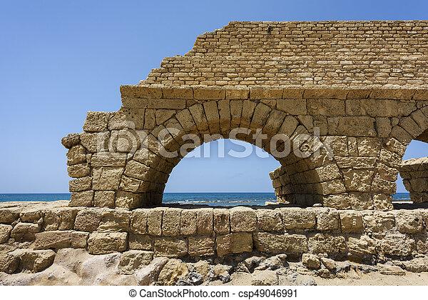 イスラエル, 古代, 水路, 地中海, ceasarea, ローマ人, 海, 海岸 - csp49046991