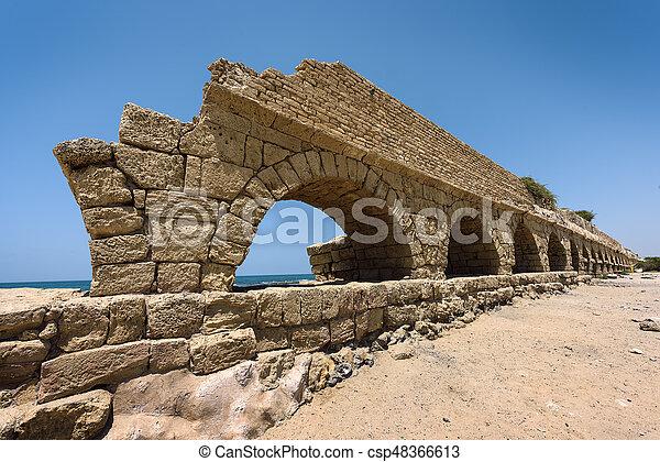 イスラエル, 古代, 水路, 地中海, ceasarea, ローマ人, 海, 海岸 - csp48366613