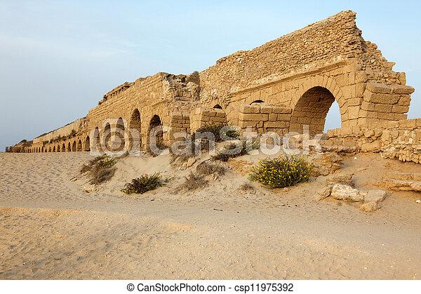 イスラエル, 水路, 地中海, ceasarea, ローマ人, 海, 海岸 - csp11975392