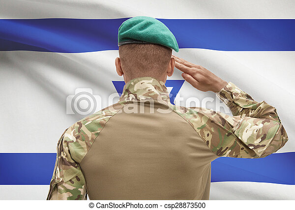 イスラエル, 肌が黒, -, 兵士, 旗, 背景 - csp28873500