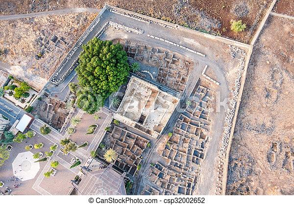 イスラエル, galilee, 航空写真, capernaum, 光景 - csp32002652