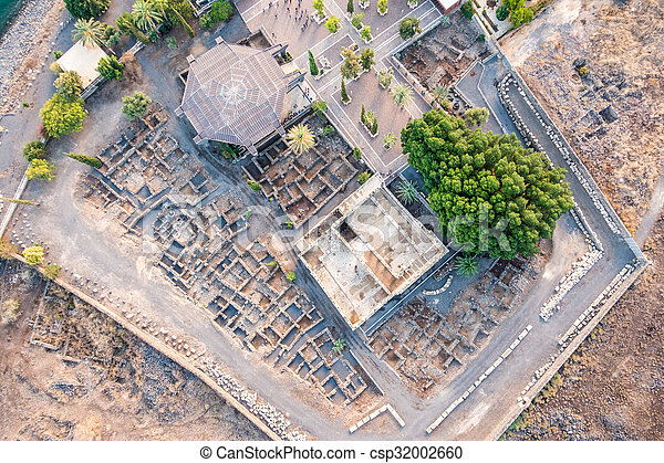 イスラエル, galilee, 航空写真, capernaum, 光景 - csp32002660