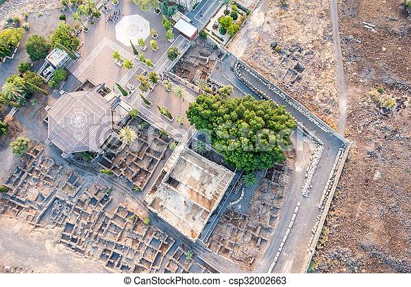 イスラエル, galilee, 航空写真, capernaum, 光景 - csp32002663