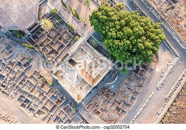 イスラエル, galilee, 航空写真, capernaum, 光景 - csp32002704