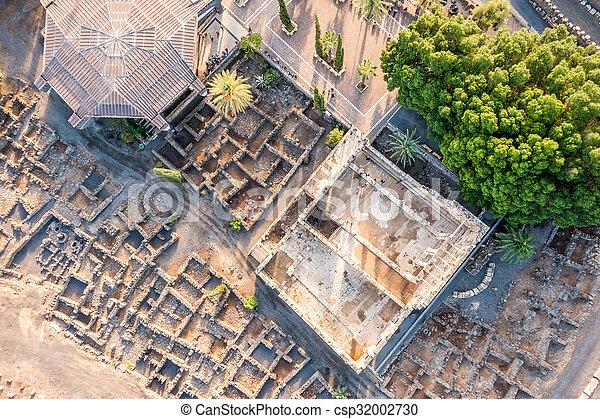 イスラエル, galilee, 航空写真, capernaum, 光景 - csp32002730