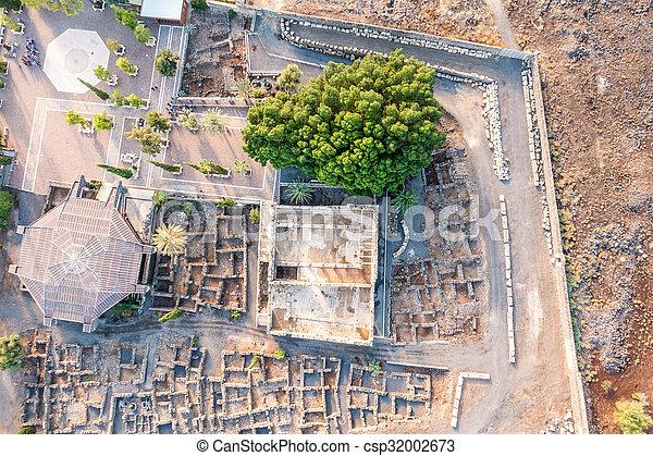 イスラエル, galilee, 航空写真, capernaum, 光景 - csp32002673